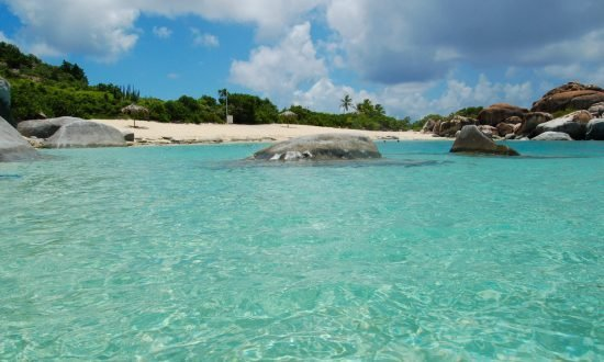 from the water of the beach at BVI