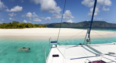 snorkeling off the boat at the shore of sandy spit BVI